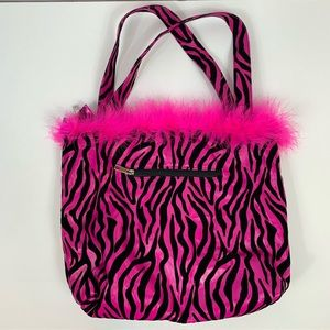 Handbags - Pink Black Feather Double Shoulder Strap Purse Bag